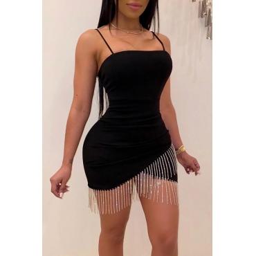 Lovely Party Spaghetti Straps Tassel Black Mini Dress