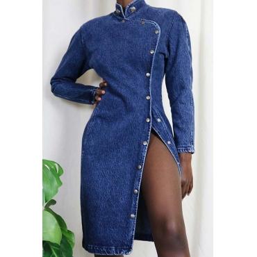 Lovely Chic O Neck Button Design Blue Knee Length Dress