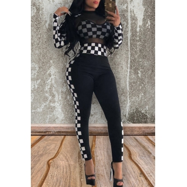 Lovely Chic Plaid Black And White Two-piece Pants Set