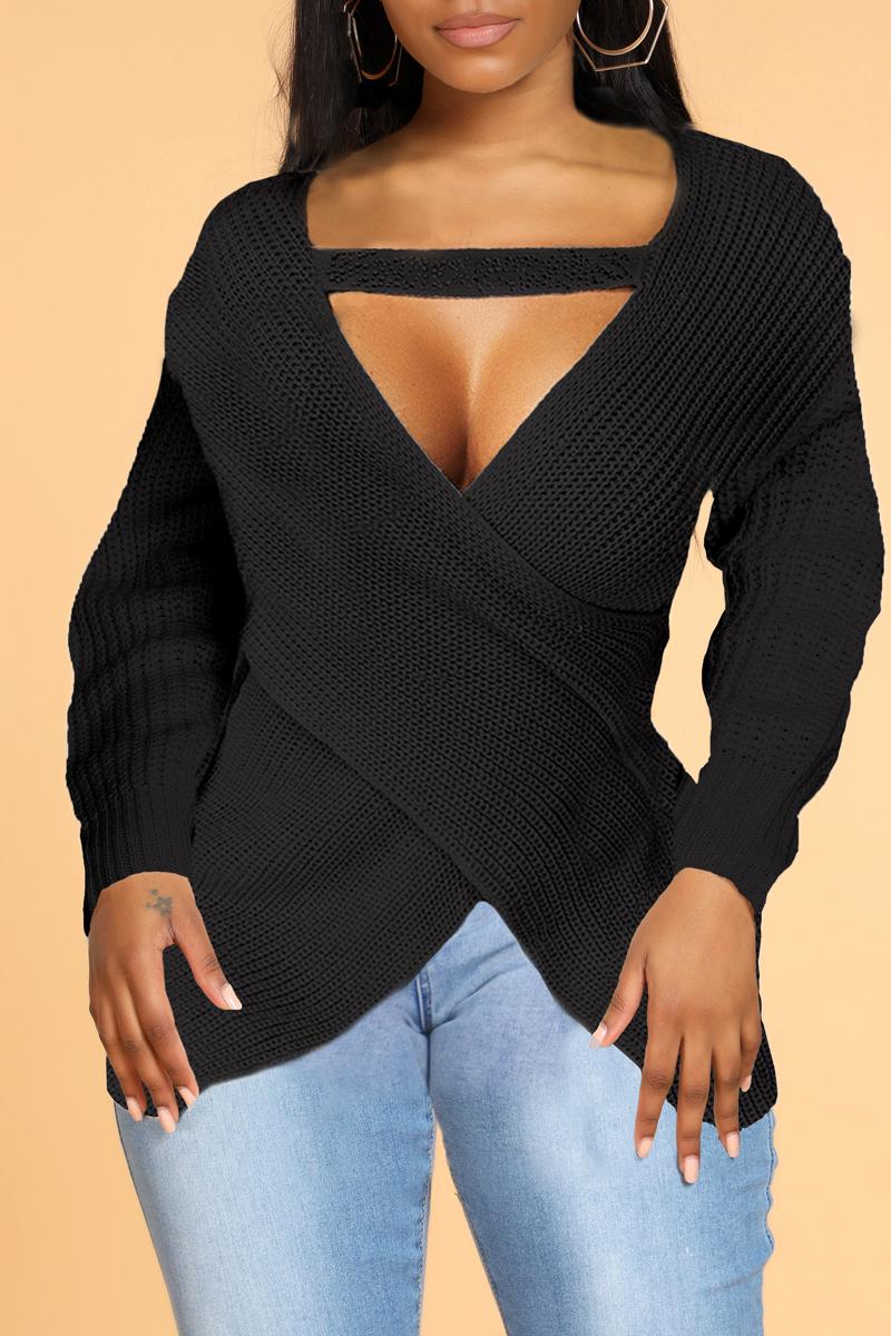 Lovely Sweet Cross-over Design Red Sweater