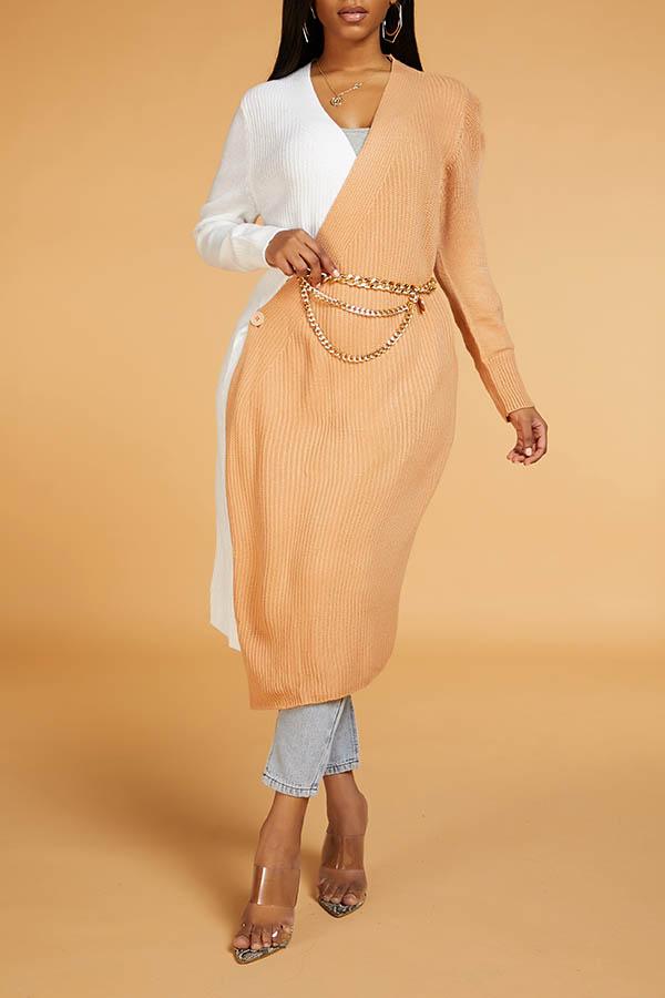 Lovely Leisure Patchwork Khaki Cardigan(Without Belt)