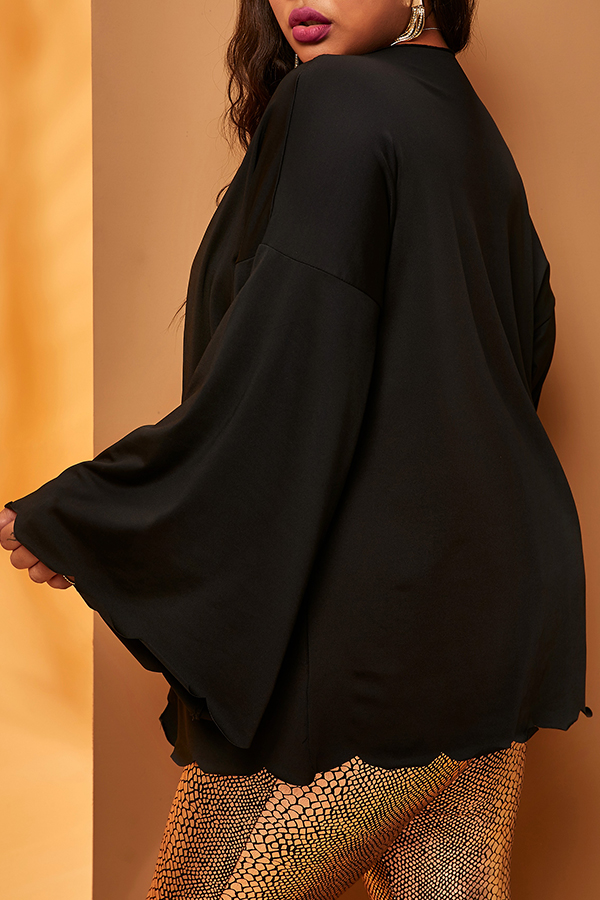 Lovely Leisure Loose Black Plus Size Cardigan