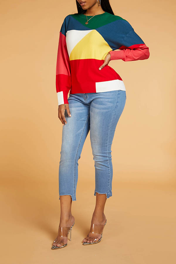 Lovely Stylish Color-lump Patchwork Multicolor Sweater