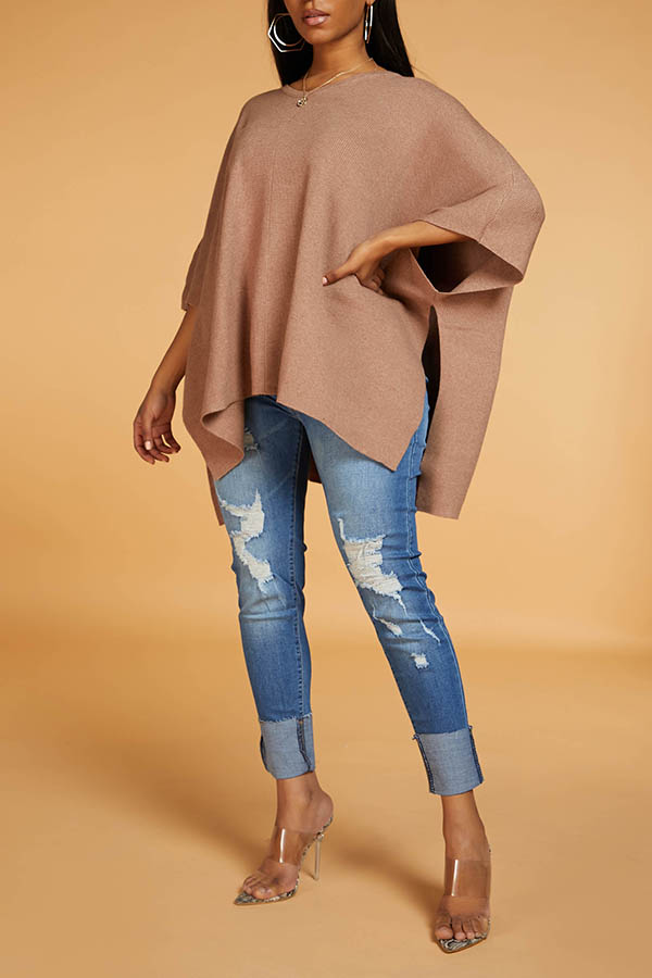Lovely Leisure V Neck Loose Coffee Sweater