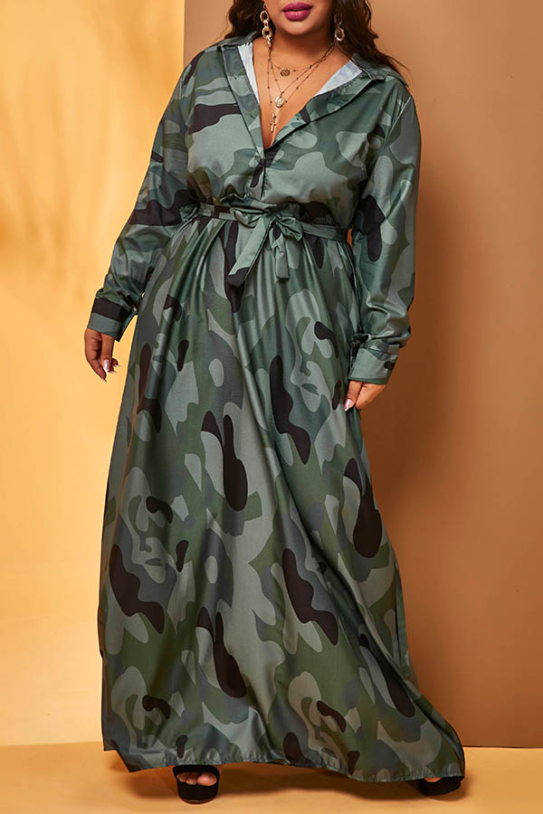 Lovely Casual Turndown Collar Camouflage Printed Green Plus Size  Maxi Dress