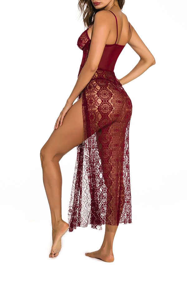 Lovely Sexy Lace See-through Wine Red  Gowns