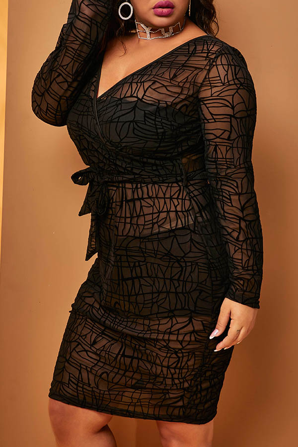 Lovely Sexy O Neck See-through Black Mid Calf Plus Size Dress