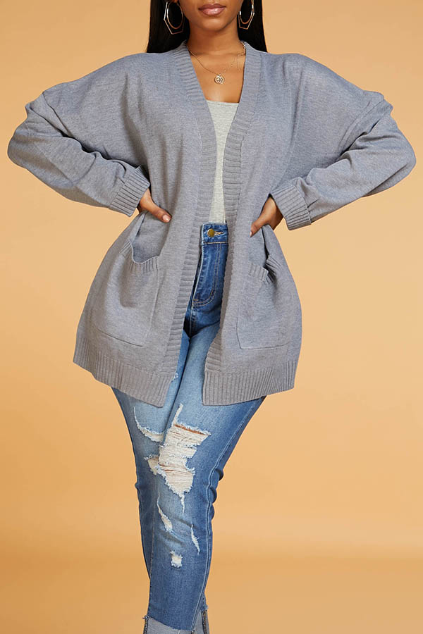 Lovely Casual Basic Grey Cardigan