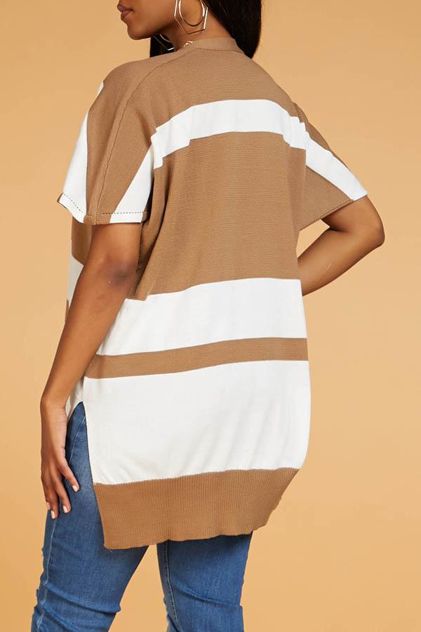 Lovely Casual Color-lump Light Tan Cardigan