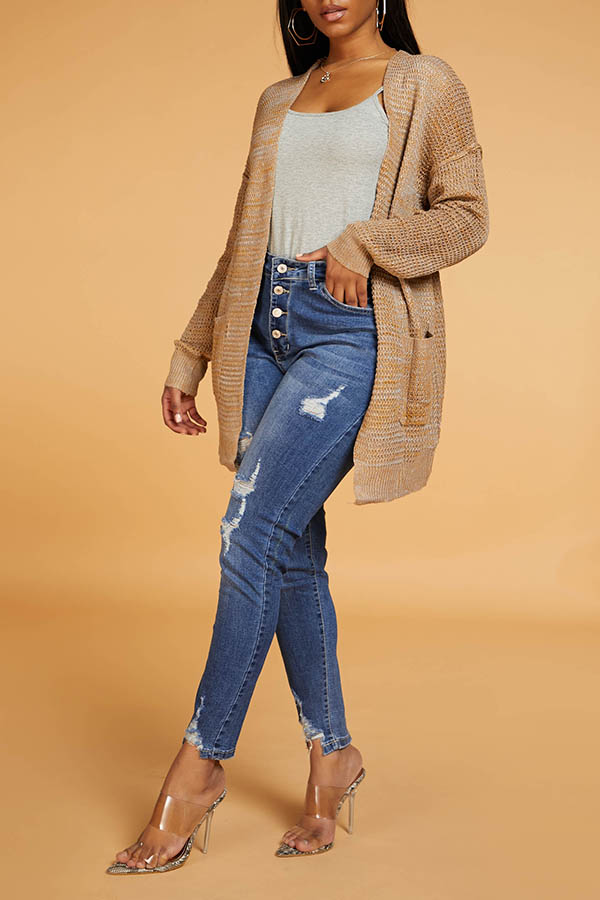 Lovely Chic Loose Brown Cardigan