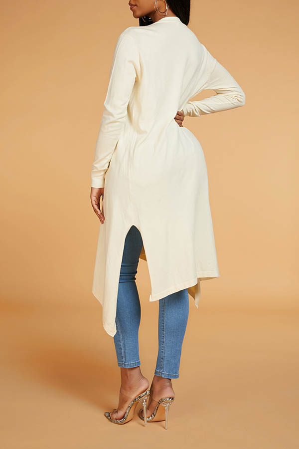 Lovely Casual Basic Cream-colored Cardigan