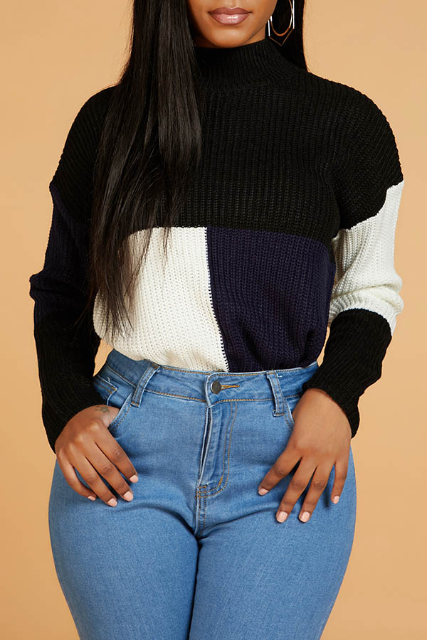 Lovely Casual Turtleneck Patchwork Deep Blue Sweater
