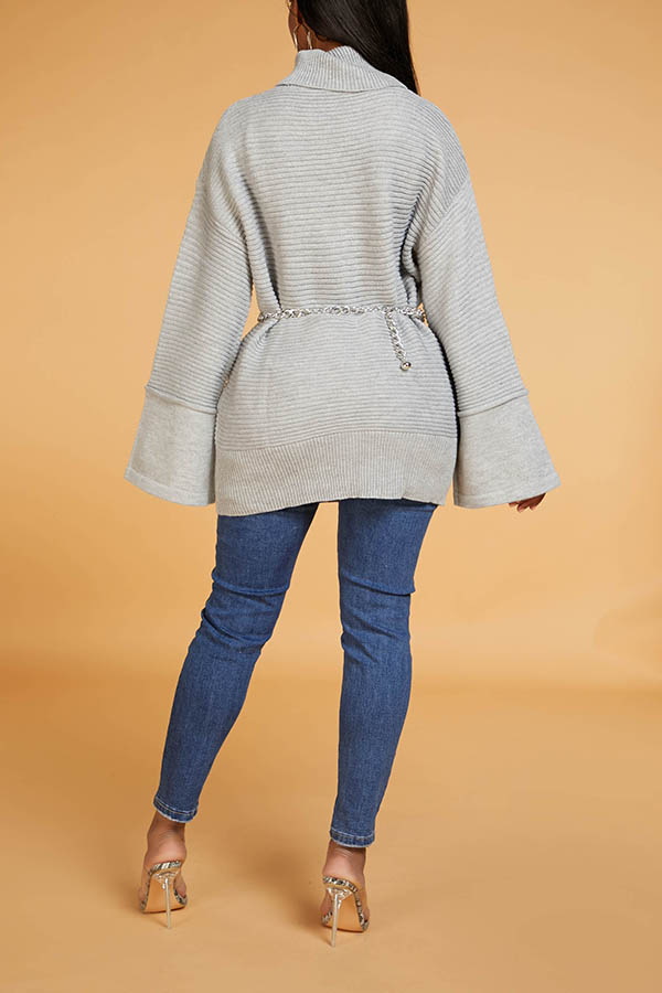 Lovely Casual Turtleneck Grey Sweater