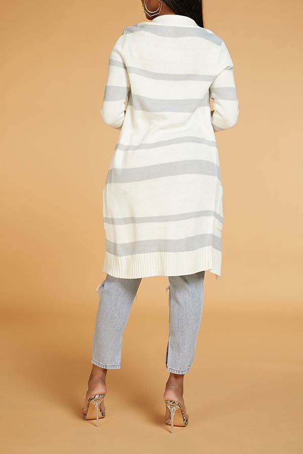 Lovely Casual Striped Grey Cardigan