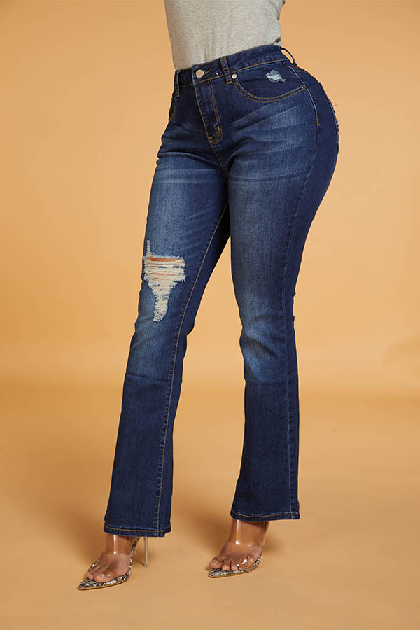 Lovely Chic Hollow-out Dark Blue Jeans