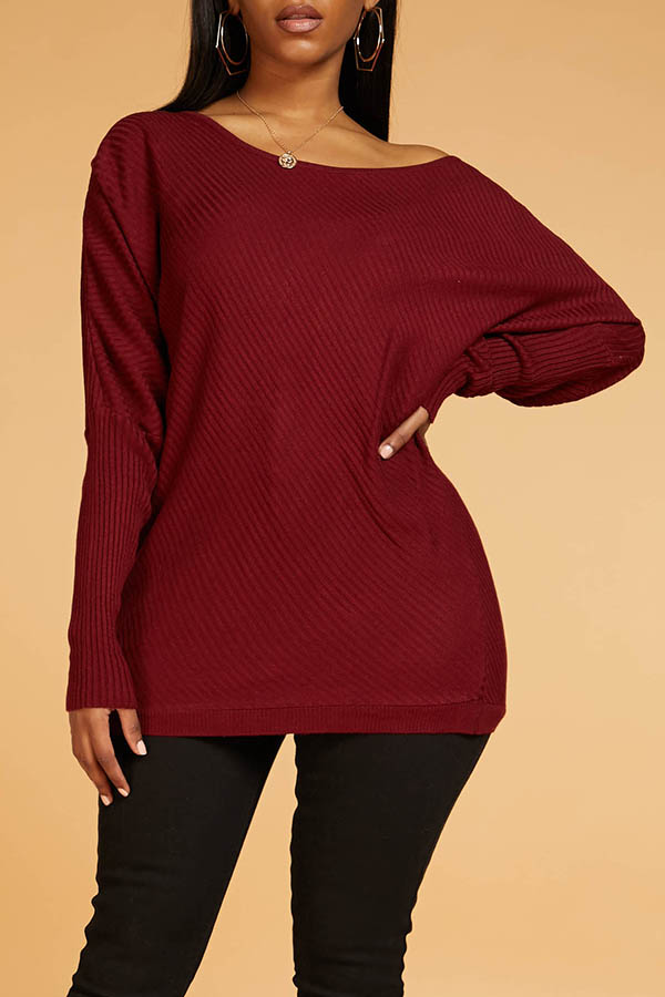 Lovely Casual Hollow-out Wine Red Sweater