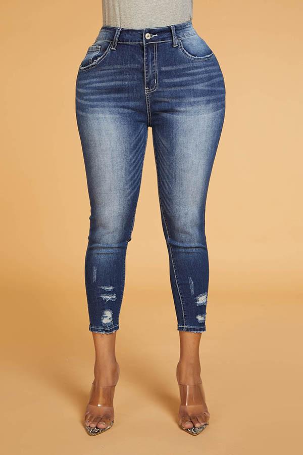 Lovely Trendy Zipper Design Blue Jeans