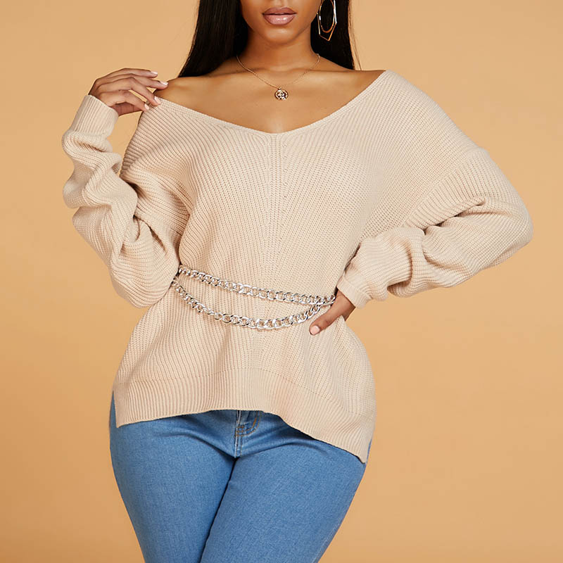 Lovely Leisure V Neck Side Slit Apricot Sweater