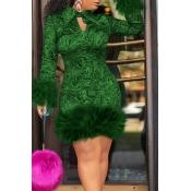 Lovely Chic Turndown Collar Patchwork Green Knee L