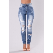 Lovely Stylish High Waist Broken Holes Jeans