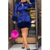 Lovely Chic Turndown Collar Patchwork Dark Blue  Knee Length Prom Dress