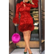 Lovely Chic Turndown Collar Patchwork Red Knee Length Prom Dress