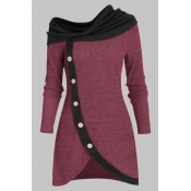 Lovely Casual Patchwork Wine Red Knee Length Plus
