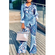 Lovely Leisure Print Buttons Multicolor Two-piece