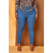 Lovely Work Skinny Blue Plus Size Jeans(Without Be