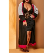 Lovely Leisure Patchwork Loose Black Plus Size Car