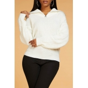 Lovely Chic Zipper Design White Sweater