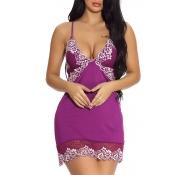 Lovely Chic Patchwork Purple Babydolls