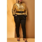 Lovely Casual Patchwork Gold  Plus Size Two-piece