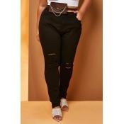 Lovely Trendy Broken Holes Black  Plus Size  Jeans