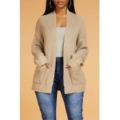 Lovely Casual Basic Khaki Cardigan