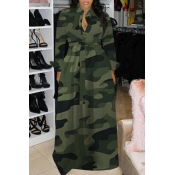 Lovely Casual Turndown Collar Camouflage Printed G
