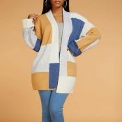 Lovely Casual Patchwork Light Tan Cardigan