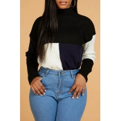 Lovely Casual Turtleneck Patchwork Deep Blue Sweat