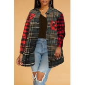 Lovely Casual Plaid Print Blackish Green Blouse