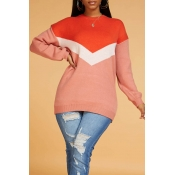 Lovely Casual Color-lump Patchwork Sweater