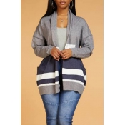 Lovely Casual Color-lump Patchwork Grey Cardigan