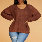 Lovely Casual Loose Brown Sweater