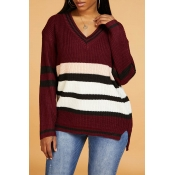 Lovely Casual V Neck Striped Print Wine Red Sweate