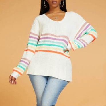 Lovely Leisure V Neck Striped White Sweater