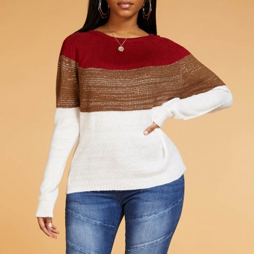 Lovely Leisure Color-lump Patchwork Wine Red Sweater