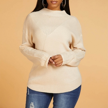 Lovely Chic Patchwork Light Camel Sweater