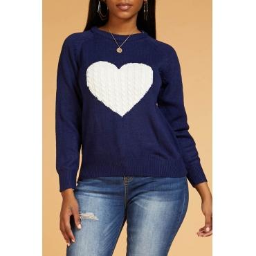 Lovely Leisure Heart Deep Blue Sweater