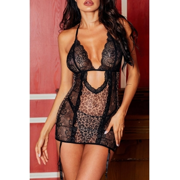 Lovely Sexy Hollow-out Black Babydolls