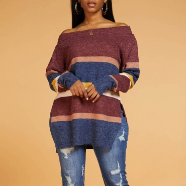 Lovely Leisure Basic Striped Wine Red Sweater
