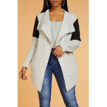 Lovely Casual Patchwork Grey Cardigan